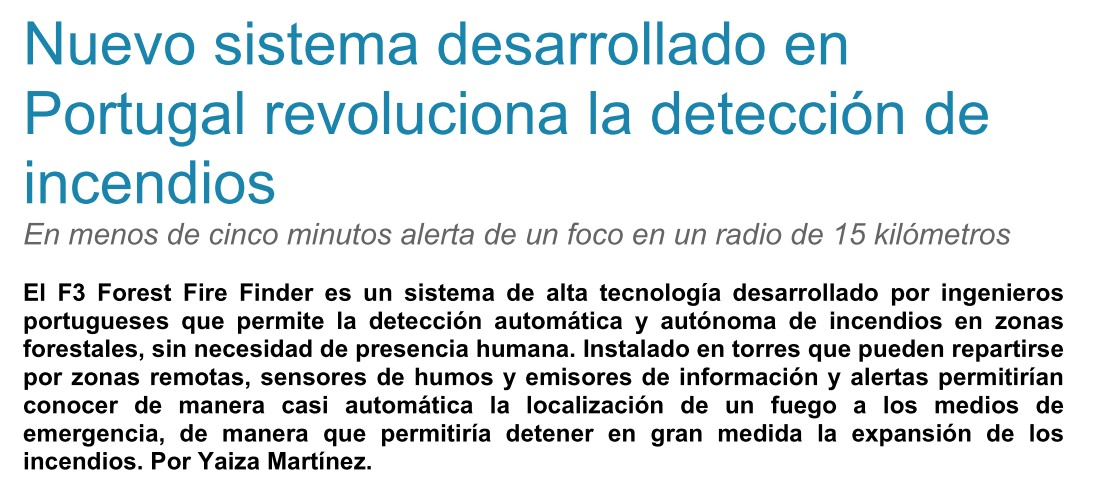 Tendencias21 - New system developed in Portugal revolutionizes fire detection