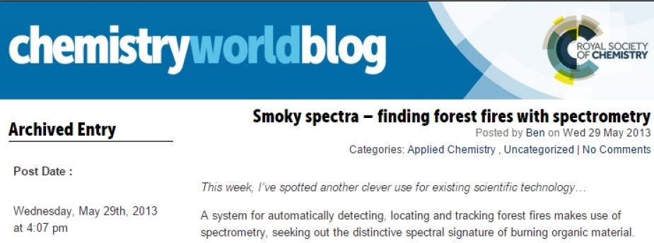 ChemistryWorldBlog - Smoky spectra - Finding forest fires with spectrometry